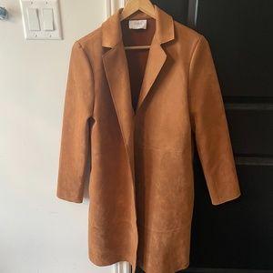 Zara Fake Suede Mid Long Coat Brown